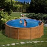 Piscina redonda imitação de madeira  460 x 120 cm com filtro de cartucho Gre